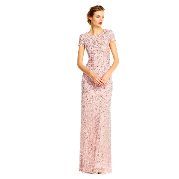 Adrianna Papell Dresses Scoop Back Sequin Gown Color Blush Poshmark